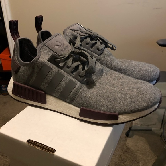 Adidas NMD Never Worn R1 Four Maroon Grey Wool wOZiTkPXu